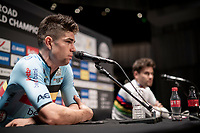 post-race press conference with world champion Filippo Ganna (ITA/Ineos Grenadiers) & runner-up Wout van Aert (BEL/Jumbo-Visma)<br /> <br /> Men Elite Individual Time Trial <br /> from Knokke-Heist to Bruges (43.3 km)<br /> <br /> UCI Road World Championships - Flanders Belgium 2021<br /> <br /> ©kramon