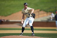 Wake Forest Demon Deacons relief pitcher Rayne Supple (9) in action against the Virginia Cavaliers at David F. Couch Ballpark on May 19, 2018 in  Winston-Salem, North Carolina. The Demon Deacons defeated the Cavaliers 18-12. (Brian Westerholt/Four Seam Images)