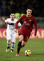 Calcio, Serie A: AS Roma vs Cagliari, Roma, stadio Olimpico, 16 dicembre 2017.<br /> Roma's Patrik Schick (r) in action with Cagliari's Fabio Pisacane (l) during the Italian Serie A football match between AS Roma and Cagliari at Rome's Olympic stadium, December 16, 2017.<br /> UPDATE IMAGES PRESS/Isabella Bonotto
