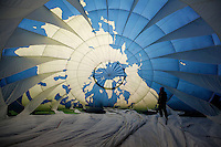 (Oslo, Norway. Dec 9, 2009) Balloon pilot inside canopy of Greenpeace hot air balloon. Outside Oslo Town Hall, where US president Barack Obama will receive Nobel Peace Prize on Dec 10 2009.