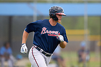 Atlanta Braves Bryce Ball (95) runs to first base during a Minor League Spring Training game against the Tampa Bay Rays on April 25, 2021 at Charlotte Sports Park in Port Charlotte, Fla.  (Mike Janes/Four Seam Images)