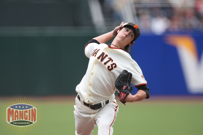 SAN FRANCISCO - JULY 20:  Tim Lincecum of the San Francisco Giants pitches during the game against the Milwaukee Brewers at AT&T Park in San Francisco, California on July 20, 2008.  The Brewers defeated the Giants 7-4.  Photo by Brad Mangin