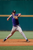 Jace Jones (21) of Cypress Lake High School in Fort Myers, FL during the Perfect Game National Showcase at Hoover Metropolitan Stadium on June 19, 2020 in Hoover, Alabama. (Mike Janes/Four Seam Images)