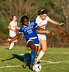 LITCHFIELD, CT-110620S17 —Litchfield's Jeremina Prenoveau (22) and Northwestern's Melissa Tatsapaugh (10) battle for the ball during their Berkshire League game Friday at Litchfield High School. <br /> Jim Shannon Republican-American
