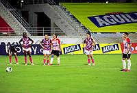 BARRANQUILLA - COLOMBIA, 24-11-2020: Atletico Junior y el Independiente Santa Fe, durante partido de los Cuartos de Final Ida de la Liga Femenina BetPlay DIMAYOR 2020 jugado en el estadio Romelio Martinez en la ciudad de Barranquilla. / Atletico Junior and Independiente Santa Fe, during a match of the Quarterfinals Ida of the Women's League BetPlay DIMAYOR 2020 played at the Romelio Martinez stadium in Barranquilla city. / Photo: VizzorImage / Jairo Cassiani / Cont.