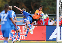 Karina LeBlanc #23 of the Philadelphia Independence crashes into Jordan Angeli #4  of the Boston Breakers during a WPS match at John A. Farrell Stadium on August 29 2010, in West Chester, PA. Breakers won 2-1.