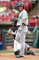 Steven Baron (8) of the Clinton LumberKings during a game against the Kane County Cougars at Elfstrom Stadium in Geneva, Illinois;  April 23, 2011. Photo By Chris Proctor/Four Seam Images.