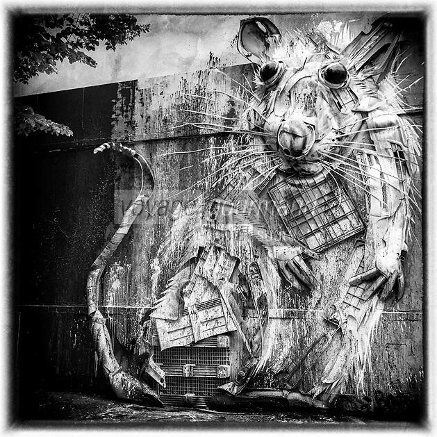 Europe/iFrance Ile de France /75011/Paris :  Le Mur Oberkampf, haut lieu du street art /Réalisation :  Bordalo II // Europe / iFrance Ile de France / 75011 / Paris: The Oberkampf Wall, a Mecca for street art/  OP: Bordalo II