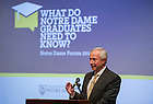"""Nov. 4, 2014; Richard Brodhead, president of Duke University delivers his speech """"The Once and Future Liberal Arts,"""" as part of Notre Dame 2014-2015 Forum in the Hesburgh Center Auditorium.  (Photo by Barbara Johnston/University of Notre Dame)"""