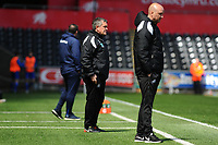 Head Coaches Gary Richards and Cameron Toshack of Swansea City u23's during the Premier League Cup: Semi Final match between Swansea City and Everton at the Liberty Stadium in Swansea, Wales, UK.  Saturday 04 May 2019
