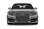 Car photography straight front view of a 2018 Audi S8 4.0-TFSI-quattro-Tiptronic-Plus  4 Door Sedan