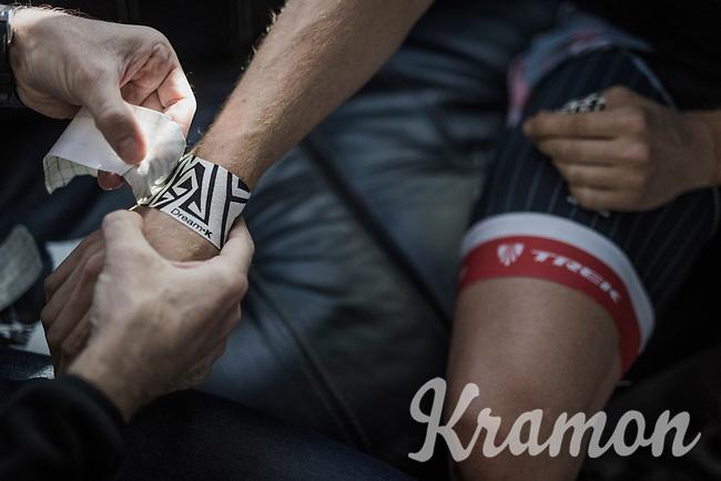 Boy van Poppel's (NED/Trek-Segafredo) wrists taped in by the team doctor pre-race<br /> <br /> 115th Paris-Roubaix 2017 (1.UWT)<br /> One Day Race: Compiègne › Roubaix (257km)