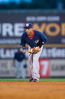 Oklahoma City RedHawks second baseman Ronny Torreyes (5) on defense against the Nashville Sounds at Greer Stadium on July 25, 2014 in Nashville, Tennessee.  The Sounds defeated the RedHawks 2-0.  (Brian Westerholt/Four Seam Images)