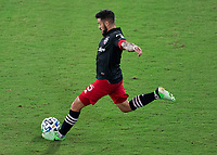 WASHINGTON, DC - SEPTEMBER 12: Junior Moreno #5 of D.C. United crosses the ball during a game between New York Red Bulls and D.C. United at Audi Field on September 12, 2020 in Washington, DC.