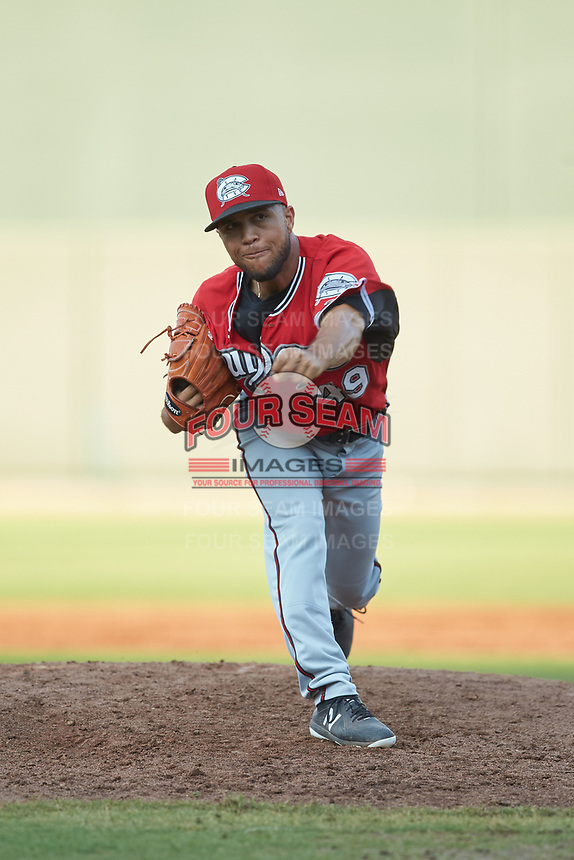 Carolina Mudcats relief pitcher Clayton Andrews (49) follows through on his delivery against the Winston-Salem Dash at BB&T Ballpark on June 1, 2019 in Winston-Salem, North Carolina. The Mudcats defeated the Dash 6-3 in game one of a double header. (Brian Westerholt/Four Seam Images)