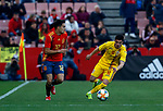 Spain's Sergio Reguilon and Romania's Valentin Gheorghe  during the International Friendly match on 21th March, 2019 in Granada, Spain. (ALTERPHOTOS/Manu R.B.)