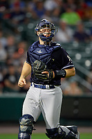 Scranton/Wilkes-Barre RailRiders catcher Erik Kratz (47) during an International League game against the Rochester Red Wings on June 24, 2019 at Frontier Field in Rochester, New York.  Rochester defeated Scranton 8-6.  (Mike Janes/Four Seam Images)