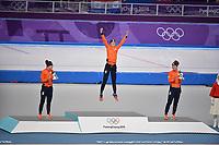 OLYMPIC GAMES: PYEONGCHANG: 10-02-2018, Gangneung Oval, Long Track, 3000m Ladies, Final result, Ireen Wüst (NED), Carlijn Achtereekte (NED), Antoinette de Jong (NED), ©photo Martin de Jong