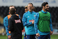 Huddersfield Town's Richard Stearman has a laugh during the pre-match warm-up <br /> <br /> Photographer Ian Cook/CameraSport<br /> <br /> The EFL Sky Bet Championship - Swansea City v Huddersfield Town - Saturday 17th October 2020 - Liberty Stadium - Swansea<br /> <br /> World Copyright © 2020 CameraSport. All rights reserved. 43 Linden Ave. Countesthorpe. Leicester. England. LE8 5PG - Tel: +44 (0) 116 277 4147 - admin@camerasport.com - www.camerasport.com