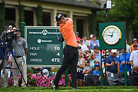 4th June 2021; Dublin, Ohio, USA; Viktor Hovland (NOR) watches his tee shot on 10 during the Memorial Tournament Rd2 at Muirfield Village Golf Club on June 4, 2021 in Dublin, Ohio.