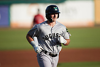 Bryson Horne (51) of the Augusta GreenJackets jogs towards home plate after hitting a home run against the Charleston RiverDogs at Joseph P. Riley, Jr. Park on June 25, 2021 in Charleston, South Carolina. (Brian Westerholt/Four Seam Images)