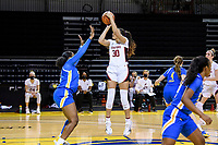 SANTA CRUZ, CA - JANUARY 22: Haley Jones #30 takes a shot during the Stanford Cardinal women's basketball game vs the UCLA Bruins at Kaiser Arena on January 22, 2021 in Santa Cruz, California.