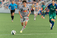 HARTFORD, CT - JULY 10: Jeremy Rafanello #36 of New York Red Bulls II brings the ball forward during a game between New York Red Bulls II and Hartford Athletics at Dillon Stadium on July 10, 2021 in Hartford, Connecticut.