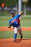 Samuel Rosario (14) during the Dominican Prospect League Elite Florida Event at Pompano Beach Baseball Park on October 14, 2019 in Pompano beach, Florida.  Samuel Rosario (14).  (Mike Janes/Four Seam Images)