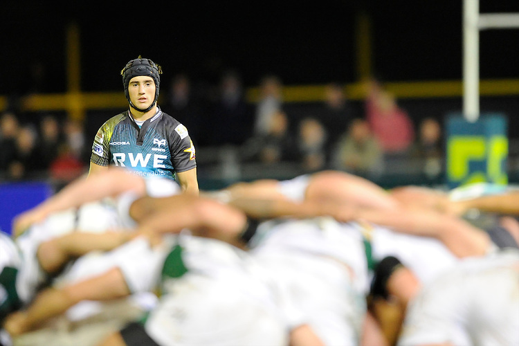 Man of the Match Matthew Morgan of Ospreys looks on during the LV= Cup second round match between Ospreys and Northampton Saints at Riverside Hardware Brewery Field, Bridgend (Photo by Rob Munro)