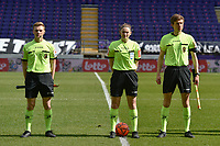 referee Viki De Cremer with assistant referee Alexandre Minnoy and Jordan Vandenborre pictured during a female soccer game between RSC Anderlecht Dames and White Star Woluwe on the 18 th and last matchday before the play offs of the 2020 - 2021 season of Belgian Womens Super League , saturday 27 th of March 2021  in Brussels , Belgium . PHOTO SPORTPIX.BE | SPP | DIRK VUYLSTEKE