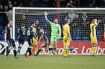 Ross County v St Johnstone…18.02.17     SPFL    Global Energy Stadium, Dingwall<br />Craig Curran wheels away after scoring for Ross County<br />Picture by Graeme Hart.<br />Copyright Perthshire Picture Agency<br />Tel: 01738 623350  Mobile: 07990 594431
