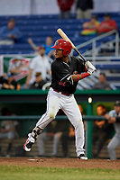 Batavia Muckdogs center fielder Ricardo Cespedes (32) at bat during a game against the West Virginia Black Bears on June 18, 2018 at Dwyer Stadium in Batavia, New York.  Batavia defeated West Virginia 9-6.  (Mike Janes/Four Seam Images)