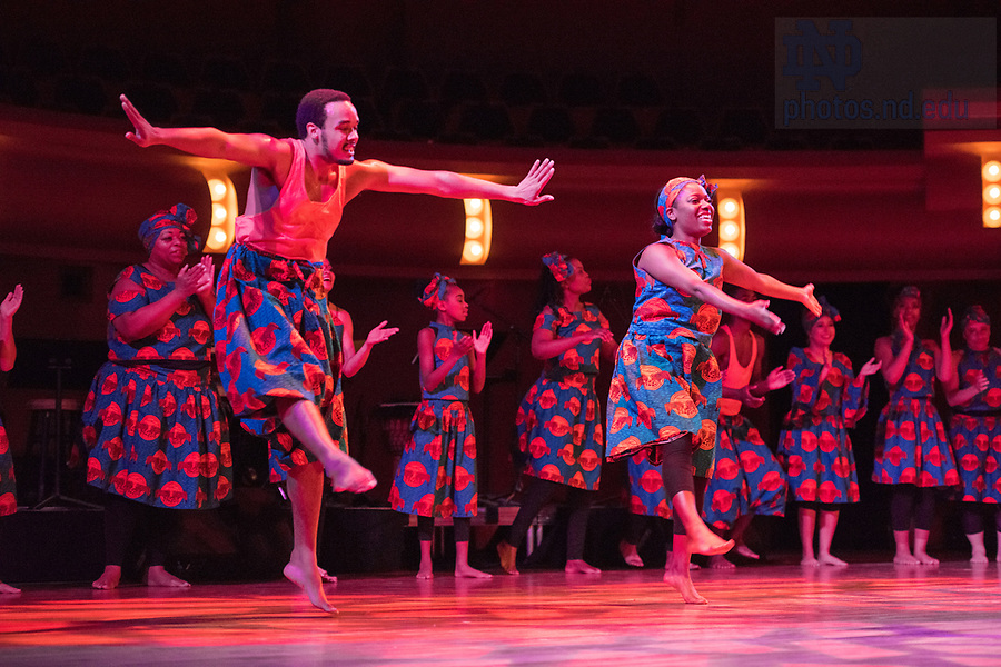 January 20, 2018; UZIMA!, the local dance and theater company founded by Kelly Morgan, and master African drummer James Riley '94 perform in the DeBartolo Performing Arts Center. (Photo by Barbara Johnston/University of Notre Dame)