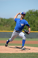Toronto Blue Jays pitcher Chase De Jong (27) during a minor league spring training game against the Pittsburgh Pirates on March 21, 2015 at Pirate City in Bradenton, Florida.  (Mike Janes/Four Seam Images)