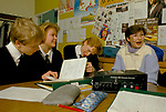 Comprehensive  Secondary School 1990s UK. Teacher and pupils boys and girls preparing for GCSE French language exams Sheffield Yorkshire 1990.