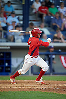 Williamsport Crosscutters second baseman Jake Scheiner (3) follows through on a swing during a game against the Mahoning Valley Scrappers on July 8, 2017 at BB&T Ballpark at Historic Bowman Field in Williamsport, Pennsylvania.  Williamsport defeated Mahoning Valley 6-1.  (Mike Janes/Four Seam Images)