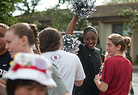 FRESNO, CA--Nneka Ogwumike enjoys herself at the band send off before taking on Duke at the Save Mart Center for the West Regionals Championship of the 2012 NCAA Championships.