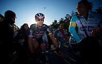 Milan-San Remo 2012.raceday.Fabian Cancellara on his way to the podium after finishing 2nd
