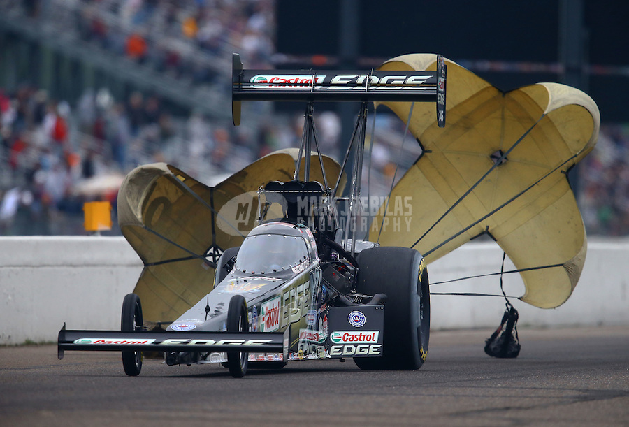 Aug 17, 2014; Brainerd, MN, USA; NHRA top fuel dragster driver Brittany Force during the Lucas Oil Nationals at Brainerd International Raceway. Mandatory Credit: Mark J. Rebilas-