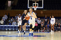 DURHAM, NC - NOVEMBER 29: Miela Goodchild #3 of Duke University chases after a loose ball during a game between Penn and Duke at Cameron Indoor Stadium on November 29, 2019 in Durham, North Carolina.