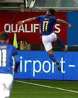 Footbal Soccer: FIFA World Cup Qatar 2022 Qualification, Italy - Northern Ireland, Ennio Tardini stadium, Parma, March 26, 2021.<br /> Italy's Ciro Immobile celebrates after scoring during the FIFA World Cup Qatar 2022 qualification, football match between Italy and Northern Ireland, at Ennio Tardini stadium in Parma on March 26, 2021.<br /> UPDATE IMAGES PRESS/Isabella Bonotto