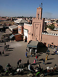 Crowds of people in Djemaa el-Fna a large square in the medina in Marrakesh.