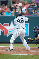 Carlos Narvaez (48) of the Pulaski Yankees at bat against the Princeton Rays at Calfee Park on July 14, 2018 in Pulaski, Virginia. The Rays defeated the Yankees 13-1.  (Brian Westerholt/Four Seam Images)