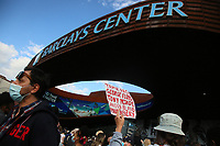 NEW YORK, NEW YORK - MAY 31: People take part during a protest outside the Barclays Center in Brooklyn on May 31, 2020 in New York. Protests spread across the country in at least 30 cities in the United States. USA For the death of unarmed black man George Floyd at the hands of a police officer, this is the latest death in a series of police deaths of black Americans (Photo by Gary Hershon / VIEWpress via Getty Images)