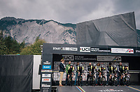 Team Mitchelton-Scott on the start podium<br /> <br /> UCI WOMEN'S TEAM TIME TRIAL<br /> Ötztal to Innsbruck: 54.5 km<br /> <br /> UCI 2018 Road World Championships<br /> Innsbruck - Tirol / Austria