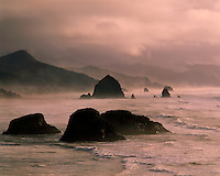 Foggy sunset glow on Crescent Beach/Cannon Beach; Ecola State Park, OR