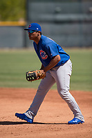 Chicago Cubs first baseman Gustavo Polanco (3) during an Extended Spring Training game against the Los Angeles Angels at Sloan Park on April 14, 2018 in Mesa, Arizona. (Zachary Lucy/Four Seam Images)
