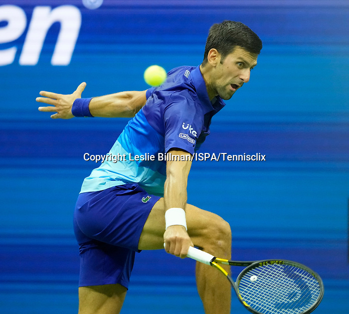 September  6, 2021:  Novak Djokovic (SRB) defeated Jenson Brooksby (USA) 1-6, 6-3, 6-2,  6-2, at the US Open being played at Billy Jean King Ntional Tennis Center in Flushing, Queens, New York / USA  ©Jo Becktold/Tennisclix/CSM/CSM