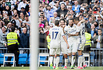 Nacho Fernandez of Real Madrid celebrates with teammates during their La Liga match between Real Madrid and Deportivo Alaves at the Santiago Bernabeu Stadium on 02 April 2017 in Madrid, Spain. Photo by Diego Gonzalez Souto / Power Sport Images