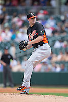 Norfolk Tides starting pitcher Mike Wright (28) in action against the Charlotte Knights at BB&T BallPark on June 7, 2015 in Charlotte, North Carolina.  The Tides defeated the Knights 4-1.  (Brian Westerholt/Four Seam Images)